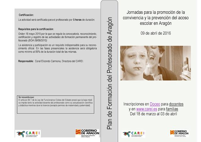Jornadas para la promoción de la convivencia y la prevención del acoso escolar en Aragón