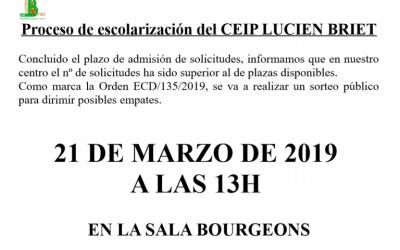 SORTEO PARA DIRIMIR EMPATES EN EL PROCESO DE ESCOLARIZACIÓN